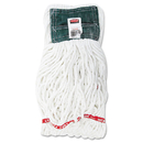Rubbermaid RCPA25206WHICT Web Foot Shrinkless Looped-End Wet Mop Head, Cotton/synthetic, Medium, White