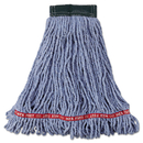 Rubbermaid RCPA252BLU Web Foot Wet Mop Head, Shrinkless, Cotton/synthetic, Blue, Medium, 6/carton