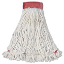 Rubbermaid RCPA253WHI Web Foot Wet Mop Head, Shrinkless, Cotton/synthetic, White, Large, 6/carton