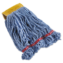 Rubbermaid FGC25106BL00 Swinger Loop Shrinkless Mop Heads, Cotton/Synthetic, Blue, Small, 6/Carton