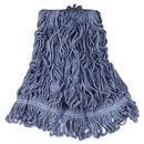 Rubbermaid RCPD212BLU Super Stitch Blend Mop Head, Medium, Cotton/synthetic, Blue, 6/carton