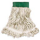 Rubbermaid FGD25206WH00 Super Stitch Looped-End Wet Mop Head, Cotton/Synthetic, Medium, Green/White