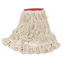 Rubbermaid FGD25306WH00 Super Stitch Looped-End Wet Mop Head, Cotton/Synthetic, Large Size, Red/White