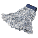 Rubbermaid FGD55306WH00 Super Stitch Finish Mops, Cotton/Synthetic, White, Large, 5-in. Blue Headband