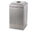Rubbermaid RCPDCR24CSM Silhouette Can/bottle Recycling Receptacle, Square, Steel, 29gal, Silver