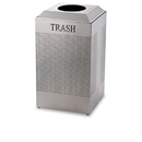 Rubbermaid RCPDCR24TSM Silhouette Waste Receptacle, Square, Steel, 29gal, Silver Metallic