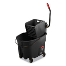 Rubbermaid 1863896 WaveBrake 2.0 Bucket/Wringer Combos, Side-Press, 8.75 gal, Plastic, Black