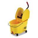 Rubbermaid FG757688YEL WaveBrake 2.0 Bucket/Wringer Combos, Down-Press, 11 gal, Plastic, Yellow