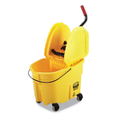 Rubbermaid FG757788YEL WaveBrake 2.0 Bucket/Wringer Combos, Down-Press, 8.75 gal, Plastic, Yellow