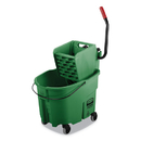 Rubbermaid FG758888GRN WaveBrake 2.0 Bucket/Wringer Combos, Side-Press, 35 qt, Plastic, Green
