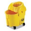 Rubbermaid FG759088YEL WaveBrake 2.0 Bucket/Wringer Combos, Down-Press, 35 qt, Plastic, Yellow