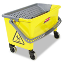Rubbermaid RCPQ90088YW Hygen Press Wring Bucket For Microfiber Flat Mops, Yellow
