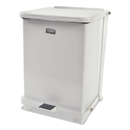 Rubbermaid FGST7EPLWH Defenders Biohazard Step Can, Square, Steel, 7 gal, White