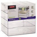 ELDON OFFICE PRODUCTS RUB94600ROS Optimizers Four-Way Organizer With Drawers, Plastic, 10 X 13 1/4 X 13 1/4, Clear