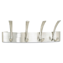 Safco SAF4205SL Metal Coat Rack, Steel, Wall Rack, Four Hooks, 14-1/4w X 4-1/2d X 5-1/4h, Silver