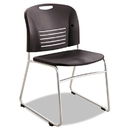 Safco SAF4292BL Vy Series Stack Chairs, Plastic Back/seat, Sled Base, Black, 2/carton