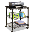 Safco SAF5207BL Desk Side Wire Machine Stand, Three-Shelf, 24w X 20d X 27h, Black