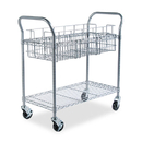 Safco SAF5236GR Wire Mail Cart, 600-Lb Cap, 18-3/4w X 39d X 38-1/2h, Metallic Gray