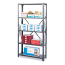 Safco SAF6269 Commercial Steel Shelving Unit, Six-Shelf, 36w X 18d X 75h, Dark Gray