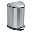 Safco SAF9685SS Step-On Waste Receptacle, Triangular, Stainless Steel, 4gal, Chrome/black