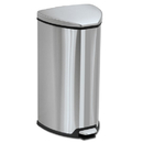 Safco SAF9686SS Step-On Waste Receptacle, Triangular, Stainless Steel, 7gal, Chrome/black