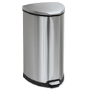 Safco SAF9687SS Step-On Waste Receptacle, Triangular, Stainless Steel, 10gal, Chrome/black