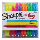 Sharpie 1761791 Pocket Style Highlighters, Chisel Tip, Assorted Colors, 24/Pack