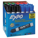 EXPO SAN1921061 Low Odor Dry Erase Marker, Chisel Tip, Assorted, 36/box