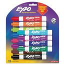 EXPO 1927525 Low Odor Dry Erase Vibrant Color Markers, Broad Chisel Tip, Assorted Colors, 12/Set