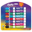EXPO 1927526 Low Odor Dry Erase Vibrant Color Markers, Broad Chisel Tip, Assorted Colors, 16/Set