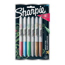 Sharpie 2029678 Metallic Fine Point Permanent Markers, Bullet Tip, Blue-Green-Red, 6/Pack