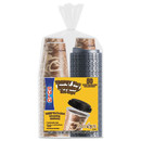 Dart SCCFSX120029 Trophy Plus Dual Temperature Insulated Cups and Lids Combo Pack, 12 oz, Brown, 50 Cups and Lids/Pack, 6 Packs/Carton