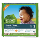 Seventh Generation 44062 Free and Clear Baby Diapers, Size 3, 16 lbs to 24 lbs, 124/Carton