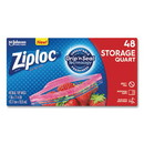 Ziploc 314469BX Double Zipper Storage Bags, 1 qt, 1.75 mil, 9.63