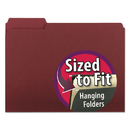 SMEAD MANUFACTURING CO. SMD10275 Interior File Folders, 1/3 Cut Top Tab, Letter, Maroon, 100/box