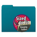 SMEAD MANUFACTURING CO. SMD10291 Interior File Folders, 1/3 Cut Top Tab, Letter, Teal 100/box