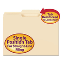 SMEAD MANUFACTURING CO. SMD10336 File Folder, 1/3 Cut Second Position, Reinforced Top Tab Letter, Manila, 100/box