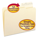 SMEAD MANUFACTURING CO. SMD10388 Guide Height File Folders, 2/5 Cut, Two-Ply Top Tab, Letter, Manila, 100/box