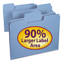 SMEAD MANUFACTURING CO. SMD11986 Supertab Colored File Folders, 1/3 Cut, Letter, Blue, 100/box