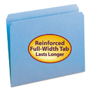 SMEAD MANUFACTURING CO. SMD12010 File Folders, Straight Cut, Reinforced Top Tab, Letter, Blue, 100/box