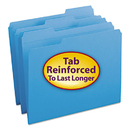 SMEAD MANUFACTURING CO. SMD12034 File Folders, 1/3 Cut, Reinforced Top Tab, Letter, Blue, 100/box