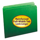 SMEAD MANUFACTURING CO. SMD12110 File Folders, Straight Cut, Reinforced Top Tab, Letter, Green, 100/box