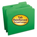 SMEAD MANUFACTURING CO. SMD12134 File Folders, 1/3 Cut, Reinforced Top Tab, Letter, Green, 100/box