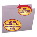 SMEAD MANUFACTURING CO. SMD12410 File Folders, Straight Cut, Reinforced Top Tab, Letter, Lavender, 100/box