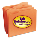 SMEAD MANUFACTURING CO. SMD12534 File Folders, 1/3 Cut, Reinforced Top Tab, Letter, Orange, 100/box