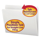 SMEAD MANUFACTURING CO. SMD12810 File Folders, Straight Cut, Reinforced Top Tab, Letter, White, 100/box