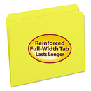 SMEAD MANUFACTURING CO. SMD12910 File Folders, Straight Cut, Reinforced Top Tab, Letter, Yellow, 100/box