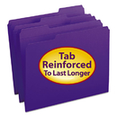 SMEAD MANUFACTURING CO. SMD13034 File Folders, 1/3 Cut, Reinforced Top Tab, Letter, Purple, 100/box