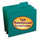 Smead SMD13134 File Folders, 1/3 Cut, Reinforced Top Tab, Letter, Teal, 100/box
