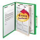 SMEAD MANUFACTURING CO. SMD13702 Top Tab Classification Folder, One Divider, Four-Section, Letter, Green, 10/box